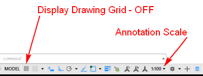 Fig.2.0.1.10 - Drawing Status bar - setup Grid -Annotation Scale